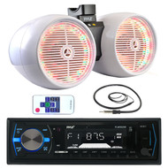 "Pyle USB Bluetooth Marine Radio,White LED 6.5"" Tower Wake Board Speakers,Antenna (MPPK16003)"