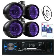 "2 Pyle Marine 6.5"" LED Tower Speaker Set, Bluetooth Pyle USB Radio, Antenna  (MPPK16016)"
