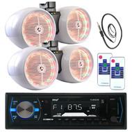 "2 LED 6.5"" White Tower Speaker Sets, Bluetooth AM FM USB Pyle AUX Radio, Antenna (MPPK16018)"