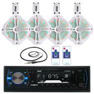"White LED 8"" Marine 260W Wake Board Speakers, Bluetooth Pyle USB Radio, Antenna (MPPK16025)"