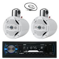 "2 White 8"" Wake Board Speakers, Pyle Bluetooth USB Marine Radio and Antenna  (MPPK16027)"