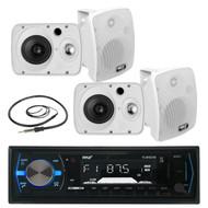 "4 Marine 6.5"" 800W Box Speakers, Pyle Bluetooth AM FM USB Radio, Marine Antenna (MPPK16028)"