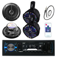 "200W 6.5'' Boat LED WakeBoard Speakers, 6.5"" Speakers, Bluetooth Radio, Antenna (MPPK16034)"