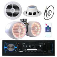 """6.5"""" Marine 800W Box Speakers, Pyle Bluetooth USB Radio, Antenna, 6.5"""" Speakers (MPPK16043)"""