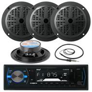 "Black 4"" 100W Marine Speakers, Antenna, Pyle Black AM FM AUX USB Marine Radio (MPPK16082)"