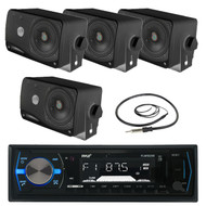 "Pyle AM FM USB Black Marine Receiver, Antenna, Pyle 200W 3.5"" Black Box Speakers (MPPK16085)"