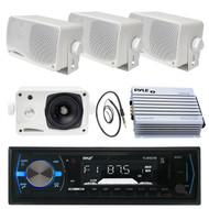 "3.5"" Marine Pyle Box Speakers,PLMRB29B USB AM FM Marine Radio, Antenna, 400W Amp (MPPK16099)"