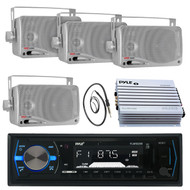 "3.5"" Silver Box Marine Speakers, PLMRB29B USB AUX Radio, Antenna, 400W Amplifier (MPPK16101)"