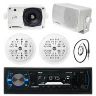 """3.5"""" Marine Box Speakers,4"""" Speakers,Black Pyle Bluetooth USB Radio with Antenna (MPPK16114)"""