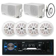 """6.5"""" Marine 120W Speakers, Pyle Black Bluetooth USB Radio,Antenna, 3.5"""" Speakers (MPPK16120)"""
