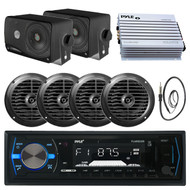 "3.5"" Boat Box Speakers, 6.5"" Speakers, Pyle Black Bluetooth Radio, Amp, Antenna (MPPK16132)"