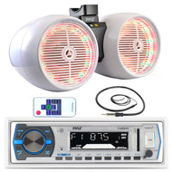 "Pyle USB Bluetooth Marine Radio,Antenna,White LED 6.5"" Tower Wake Board Speakers (MPPK16146)"