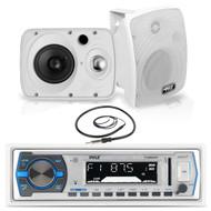 "Pyle Bluetooth USB Boat Radio,6.5"" 800W Pyle Marine Box Speakers, Marine Antenna (MPPK16156)"