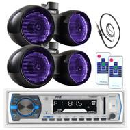 "2 Pyle Marine 6.5"" LED Tower Speaker Set, Bluetooth Pyle USB Radio, Antenna  (MPPK16159)"