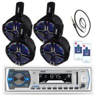 "4 Pyle Marine 6.5"" Wake Board LED Speakers, Pyle USB Bluetooth AUX Radio,Antenna (MPPK16162)"
