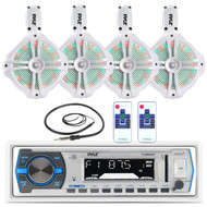 "White LED 8"" 260W Wake Board Marine Speakers, Antenna, Bluetooth Pyle USB Radio (MPPK16168)"