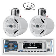 "2 White Wake Board 8"" Speakers, Pyle USB Bluetooth Marine Receiver and Antenna  (MPPK16170)"