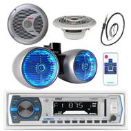 "1200W 8"" Wake Board Speaker, Marine 6.5"" Speakers, Antenna, Bluetooth USB Radio (MPPK16185)"