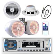 """6.5"""" Marine Box 800W Speakers, Antenna, Pyle Bluetooth USB Radio, 6.5"""" Speakers (MPPK16186)"""