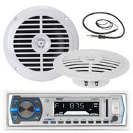 "5.25"" Marine White Pyle 100W Speakers, Antenna,Black Pyle Marine AUX AM FM Radio (MPPK16209)"