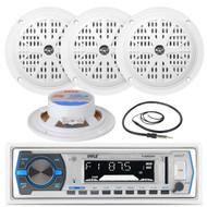 "Black 4"" Marine 100W Speakers, Antenna, Pyle White AM FM AUX USB Marine Radio (MPPK16225)"