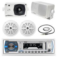 """3.5"""" Marine Box Speakers,4"""" Speakers,Black Pyle Bluetooth USB Radio with Antenna (MPPK16257)"""