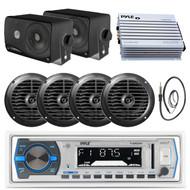 "3.5"" Boat Box Speakers, 6.5"" Speakers, Pyle White Bluetooth Radio, Antenna, Amp (MPPK16275)"