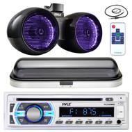 "8"" LED Marine 600W Wake Board Speakers, Antenna, Bluetooth Pyle Radio and Cover (MPPK16435)"