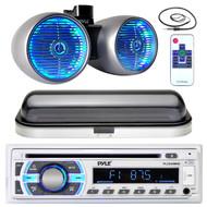 "Pyle USB Bluetooth AUX Radio, Marine LED 600W 8"" Wake Board Set, Antenna, Cover (MPPK16436)"