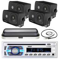 "USB Bluetooth Pyle SD Boat Radio, Antenna, White Cover, Black 3.5"" Box Speakers (MPPK16514)"