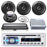 "400W Marine Amplifier, Pyle SD USB Bluetooth Radio, Cover, Antenna, 6.5""Speakers (MPPK16517)"