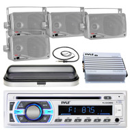 "Marine Pyle USB SD Bluetooth Radio, Antenna, 3.5"" Box Speakers, Cover, 400W Amp (MPPK16530)"