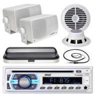 "6.5"" Marine Speakers, PLCD43MRB USB SD Bluetooth, Antenna, Cover, 400W Amplifier (MPPK16531)"