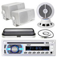 "6.5"" Marine Speakers, PLCD43MRB USB SD Bluetooth, Antenna, Cover, 400W Amplifier (MPPK16531)"