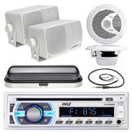 "Pyle USB SD Bluetooth Radio, Marine 6.5"" and 3.5"" Box Speakers, Cover, Antenna (MPPK16534)"