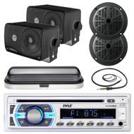 "Black 6.5"" Boat Speakers,3.5""Box Speakers,Cover,Antenna,Pyle Bluetooth USB Radio (MPPK16535)"