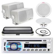 "Pyle 6.5"" Boat Speakers, Bluetooth USB Radio, Cover, Antenna, 3.5"" Box Speakers (MPPK16536)"