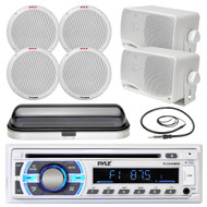 """Pyle SD USB Boat Bluetooth Radio, 3.5"""" Box and 6.5"""" Speakers, Cover and Antenna (MPPK16549)"""
