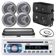 "3.5"" Box Marine Speakers, Bluetooth USB SD Radio, 6.5"" Speakers, Antenna, Cover (MPPK16551)"