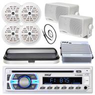 "Bluetooth Pyle USB Boat Radio, Black 6.5"" and 3.5"" Speaker Set,Amp,Cover,Antenna (MPPK16561)"