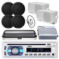 "Pyle SD USB Bluetooth Radio,Marine 6.5"" and 3.5"" Speakers,Antenna,Cover,Amplifer (MPPK16565)"