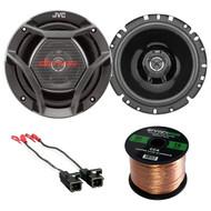 "JVC 6.75"" Car 300W Coaxial Car Speakers, 50FT Wiring, GM 88-UP Speaker Harness (R-1XCS1720-72-4568)"