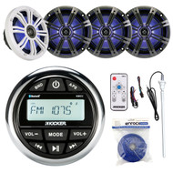 "KMC2 Bluetooth Gauge Radio,8""LED Kicker Speakers and Remote,Antenna,Speaker Wire (R-KMC2-2X43KM84LCW-EM14G50FT-OFC-BG)"