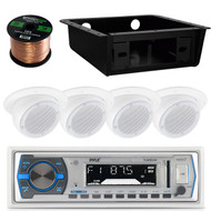 "4 Flush Mount 3"" Wall Speakers, Wiring, Bluetooth USB Radio, Underdash Housing (RVAS065)"