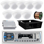 "400W Pyle Amplifier,3""Wall Speaker Set,Bluetooth USB Radio,Underdash Housing (RVAS077)"