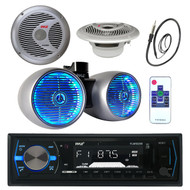 "1200W 8"" Wake Board Speaker, Marine 6.5"" Speakers, Antenna, Bluetooth USB Radio (MPPK16042)"