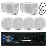 "Pyle 400W 6.5"" Speakers,Black Boat Bluetooth USB Radio,Antenna,3.5"" Box Speakers (MPPK16123)"