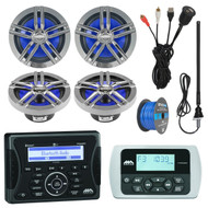 "Jensen Marine Audio Bluetooth AUX USB SiriusXM-Ready Receiver, Wired Remote, 4x Enrock Marine 2-Way 180-Watts High-Performance 6.5"" Water-Resistant Loudspeaker (Charcoal), AM/FM Antenna, 50 Ft 16-G Tinned Speaker Wire, USB Mount"