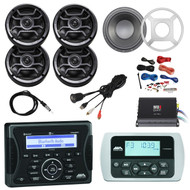 "Jensen Marine Audio Bluetooth USB Receiver, Wired Remote, 4x Hifonics 6.5"" Marine 120-Watt 2-Way Speakers w/ Grills (Black), Subwoofer w/ LED Light Kit + Grilles, MB Quart 4-Channel Class D Amplifier, PYLE Amp Install Kit, Antenna, USB Mount"