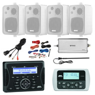 Jensen Marine Audio Bluetooth AUX USB SiriusXM-Ready Receiver, Wired Remote, 4x Enrock Audio Systems 4-Inch 3-Way In Door/Out Door Box-Speaker (White), Enrock Marine 4-Channel Amplifier, PYLE 8 Gauge Amp Install Kit, Antenna, USB Mount
